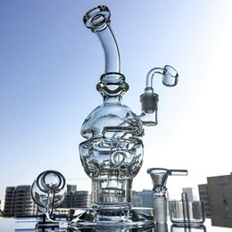 Wholesale Round Shape - Faberge Egg Shape Glass Bong with Showerhead Perc Swiss Cheese Perc Round Base Water Pipe Recycler Oil Rig Grenade Bent Bong MFE01