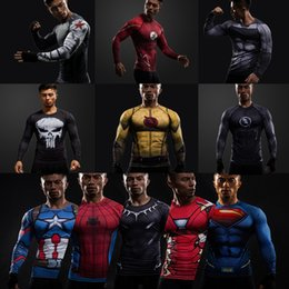 Wholesale Super Hero Shirts - Hot 2018 new 3D miracle super hero long-sleeved compression sports fitness T-shirt men's T-shirt size S-4XL