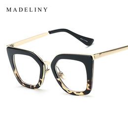 7fd5d8f0fdc2 Wholesale- MADELINY Newest Eyeglass Frame Women Cat Eye Glasses Brand  Designer Half Alloy Frame Eyewear Classic Clear Lens UV400 MA179