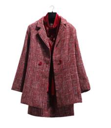 Wholesale Ladies Knit Suits Dresses - Women woolen cotton OL set Boutique luxury Classic famous sexy fashion brand retro ladies cashmere Velvet dress knit woolen jacket suit