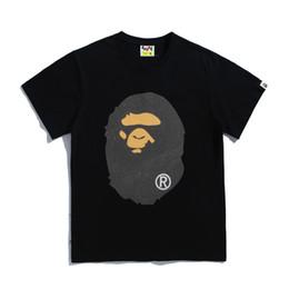 impressão de vidro barato Desconto Marca Tide Ape Tshirts Novos Grânulos De Vidro Na Moda dos homens Off Flashing Pó Impresso Algodão T-shirt Branco Curto Mangas Medo de Deus Barato