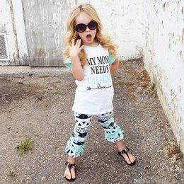 Costume d'été pour enfants 2018 nouvelle arrivée costumes à manches courtes élégant T-shirt lettre décontractée + Pantalon en deux pièces pour les filles Kid ? partir de fabricateur
