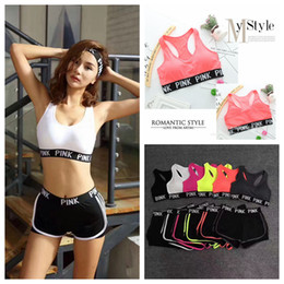 Wholesale woman polyester pant suits - Pink Letter Tracksuit Bra Set Bra Short Pants Two Piece Women Underwear Crop Bra Shorts Fitness Suits Sports Yoga Vest Sets Summer AAA100