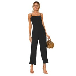 2e7a02775f6 New Hot Women Chiffon Jumpsuits Wide Leg Pants High Waist Sexy sling fashion  Solid Color Summer Playsuit