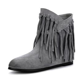 c5f735f6c Calçados quentes calcanhar tornozelo botas on-line-2018 Camurça Da Vaca  Tamanho Grande 34