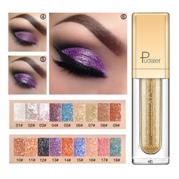 Wholesale free eyeshadows - Pudaier 18 Color Luminous Glitter Eyeshadow Liquid Shiny Diamond Waterproof Liquid Shimmer Eye Shadow Makeup Eyeshadows DHL free