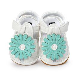0-18 месяцев белые детские сандалии обувь принцесса плоская с младенческой сандалии лето синий цветок мягкой подошвой малыша девушка от