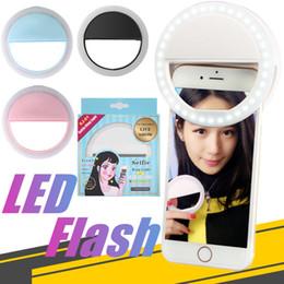 filtro recubierto Rebajas Luz del selfie de la cámara de la luz del anillo del teléfono del flash de Selfie LED para para el paquete al por menor de Android de Samsung del iPhone