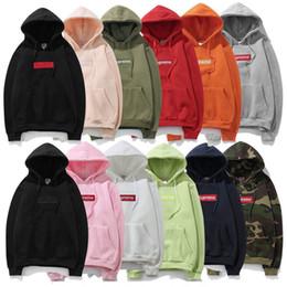Wholesale hoodie mens logo - Luxury brand super box logo hoodies cotton kanye west Windbreaker jacket mens designer hoodie off fear god white champions A+++
