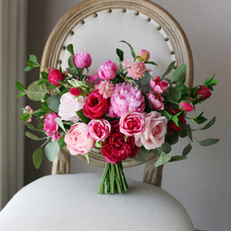 Wholesale Cheap Artificial Flower Decorations - New Fuchsia Pink Bridal Holding Brooch Bouquet 2018 Rose Cheap Silk Wedding Decoration Artificial Bridesmaid Bridesmaid Bouquet Decorations