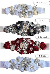 Wholesale crystal beaded bridal belts - 2018 New Wedding Sashed Belt Silk Satin Handmade Flowers With Sparkly Crystal Beaded Sequin Cheap Burgundy Champagne Bridal Sash Belt White