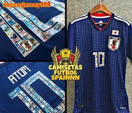 Wholesale Tops Short Men - TOP Player version Japan soccer jerseys 2018 world cup ATOM 10 CARTOON NUMBER Tsubasa KAGAWA ENDO OKAZAKI NAGATOMO Football Shirt uniforms