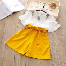 Wholesale new style girls top s - New Girl Clothes Set Summer Butterfly Sleeve Top+Short Pants 2 Pieces Clothes Suit Boys Girl Suit 5 s l
