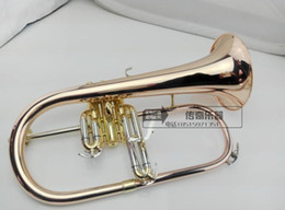 2019 trompa instrumento musical Flugelhorn B profissional plana de cobre De Fósforo Trompete instrumentos musicais de Bronze Trompete chifre Frete grátis trompa instrumento musical barato