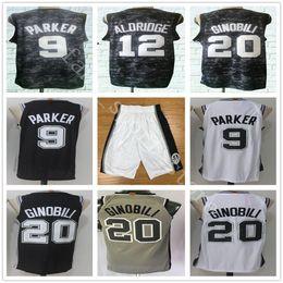 Wholesale manu black - College The City Edition Black #9 Tony Parker Jersey White 12 LaMarcus Aldridge Gray 20 Manu Ginobili 16 Pau Gasol Jersey Shorts