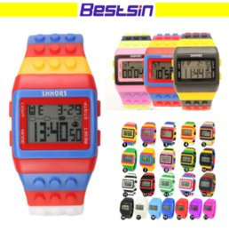 Wholesale Watches Led Kids - Bestsin Shhors Digital LED Watch Rainbow Classic Colorful Stripe Unisex Fashion Watches Good for Swimming Nice Gift For Kid Free DHL