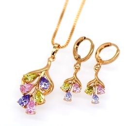 Wholesale Gold Jewelery Sets - Fashion Women Necklace Earrings Wedding Jewelry Sets For Bridesmaids Color Zircon Design 17.71inch Box Chain Women Jewelery Gift