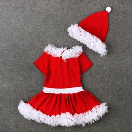 ff2309c6260f5 Fshion Filles De Noël De Dentelle Tutu Robe 2 pc Ensembles À Manches  Courtes Jupe Chapeau Enfants Arc De Dentelle De Noël De Noël tenues  Vêtements ...