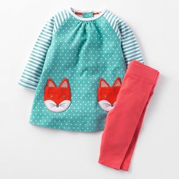 Wholesale Childrens Animal T Shirts - Long Sleeve Stripe T-shirt + Pants Sets Girls Clothing Set 1-6T Childrens Clothes Baby Sets Spring 2018