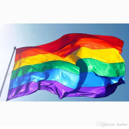 drapeau en nylon Promotion 3x5ft 90x150cm Drapeaux Arc En Ciel Et Des Bannières Lesbiennes Gay Pride LGBT Drapeau Polyester Coloré Drapeau Pour La Décoration WX9-216