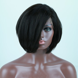 cut parting wig Coupons - Human Hair short cut brazilian bob Wigs With Baby Hair Silky Straight Lace Front Bob Wigs For Black Women middle part