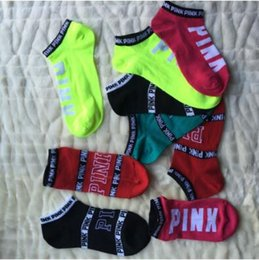 Wholesale Pink Hosiery - 2pcs pair Pink Letter Socks Pink Anklet Sports Hosiery Fashion Short Socks Slipper Girl Sexy Pink Ship Socks CCA8559 200pair