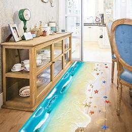 Wholesale Scene Wall - 2017 Fashion New 3D Summer Scene Beach Floor Wall Sticker Removable Mural Decals Vinyl Art Living Room Decor