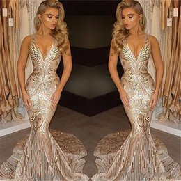 Discount sexy winter formal dresses - Arabic 2018 Sexy Spackly Gold Deep V Neck Mermaid Prom Dresses Sequins Beaded Backless Long Sweep Train Plus Size Formal Party Evening Gowns