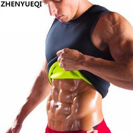 Wholesale Tightest Shapewear - Slimming male Vest Neoprene Hot Shapers body Shaper Men T shirt sweat suits waist Belt Waist Trainer tights Corsets shapewear