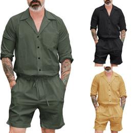chándal hombre negro amarillo Rebajas 2018 Nuevos Hombres Manga Corta Del Mameluco Pantalones Cargo Casual Mono Pantalones Siameses Playsuit CA 2 unid
