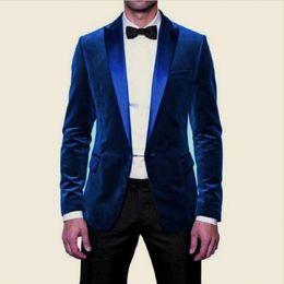Wholesale Wedding Three Piece Suits Design - Blue Velvet Evening Party Men Suits 2018 Design Blazer Two Piece Peaked Lapel Black Pants Wedding Groom Tuxedos (Jacket + Pants)
