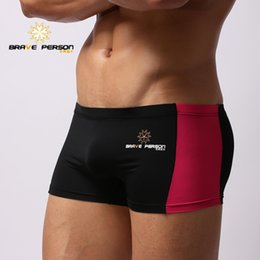 Wholesale Boxer Person - BRAVE PERSON Men's Low-waisted Patchwork Swimming Boxers Breathable Vacation Swimming Trunks