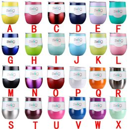 Wholesale 24 Cups - 9oz glass Wine egg cups wine glasses Vacuum Insulated mug Stainless Steel with lid egg shape mug cup 24 color DHL