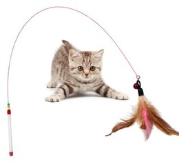 Wholesale feather birds - Colorful Multi Pet Cat Toys Design Bird Feather Teaser Wand Plastic Toy High Quality EEA347 120PCS
