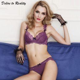 cd72af5ea91 Ultra-thin Women Sexy Bra Set Push Up Brassiere Transparent Lace lingerie  female Plus Size Underwear 3 4 Cup Bralette 3023