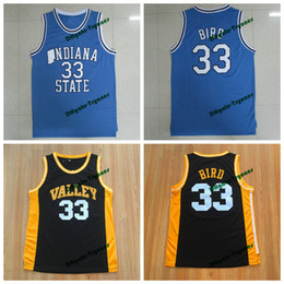 Camicia uccello online-Mens Indiana State Sycamores Larry Bird College Basket Blayys # 33 New Valley High School Larry Bird Cucitato Giallo Red Shirts