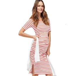 Wholesale Pink Nurse Dress - Home Tencel Striped Nursing Dress for Pregnancy Women Short Sleeve Maternity Dress Clothing Casual Pregnancy Dress Summer