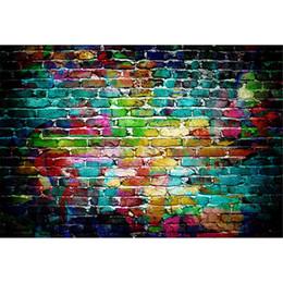 Красочные Окрашенные Кирпичной Стены Фотографии Фон Винил Печатных Новорожденных Фотосессия Реквизит Дети Дети Фотографическая Студия Фоны от