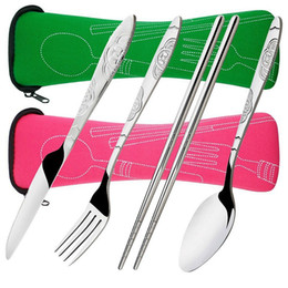 4 pezzi in acciaio inossidabile (coltello, forchetta, cucchiaio, bacchette) Leggero, set posate viaggio / campeggio con custodia in neoprene da