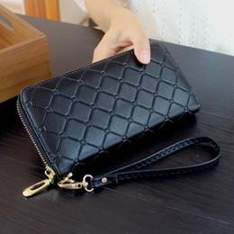 Wholesale Black Passports - 2018 New Design Women Casual Long Wallet Zipper Design Black Wallet PU Leather Soft Wallet Mobile phone bag Lady Popular Purses