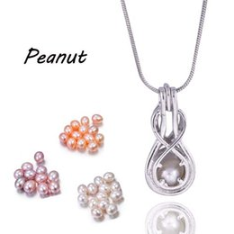 Wholesale Parrot Chain - New Arrival Love 6-7MM Rice Pearl Cages Pendant Hollow Out Peanut Hearts Gun Parrot Building Silver Plated DIY Fashion Jewelry Gift PP15