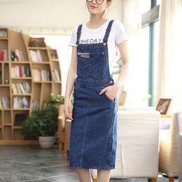 Wholesale Knee Length Sleeveless Denim Dress - 2018 Autumn Spring Spaghetti Strap dress for women sleeveless Slim Denim dress Blue color size S-2XL