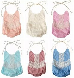 Wholesale Cute Toddler Girls Clothes - 2018 summer toddler girl lace rompers tassel fringe onesies baby boutique clothing infant clothes halter tops backless jumpsuits cotton cute