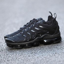Wholesale Black Plastic Canvas - 2018 New Airs Vapormax Plus VM Olive Sports Running Shoes Airs TN Men Run In Metallic White Silver Colorways Pack Triple Black shoes