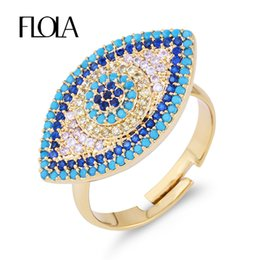 hamsa rings Promo Codes - FLOLA Gold Vintage Micro Pave Evil Eye Ring Open Adjust CZ New Year Lucky Turkish Women Ring Ethnic Hamsa halka Jewelry rige77