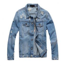 Motos de bombardero online-2018 nueva motocicleta chaqueta de mezclilla con estampado de letras diseñador de alta moda famoso bombardero Denim chaqueta rompevientos delgada ropa de jean para hombre
