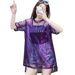 Argentina 2018 Harajuku camiseta transparente mujer verano carta impresión camiseta Punk más el tamaño Shining Mesh Tops manga corta camiseta mujeres S18100901 supplier plus size mesh shirt Suministro