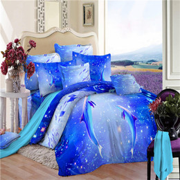 Wholesale Pillowcases For Kids - 100 %Cotton Royal Bule 3D Dolphins Ocean Bedding set Queen Size For Kids Boys Duvet Cover Set Bed linen Pillowcases