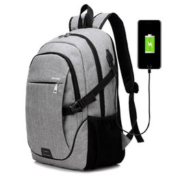 Wholesale usb baseball - Durable Solid Color Canvas Backpack with USB Port for Men Travel Backpack Teenagers Student School Bags Simple Laptop Backpack Charging