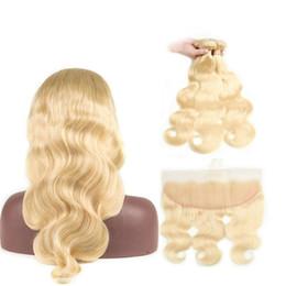 Hint Vücut Dalga Saç Demetleri Ile Dantel Frontal Kapatma Ile 613 Sarışın İnsan Saç Frontal Bebek Saç Kapatma Ile 3 Demetleri Remy Uzatma cheap blonde remy indian hair extensions nereden sarışın remy indian saç uzantıları tedarikçiler